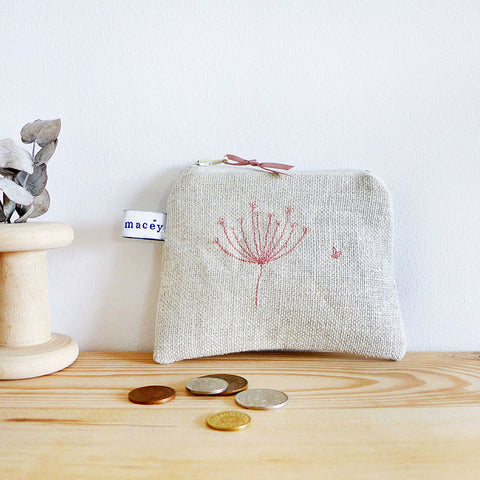 EMBROIDERED LINEN COIN PURSE - Cow Parsley