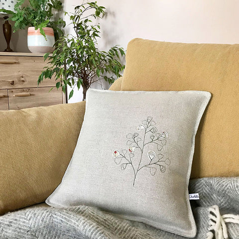 EMBROIDERED LINEN CUSHION - Maidenhair Fern