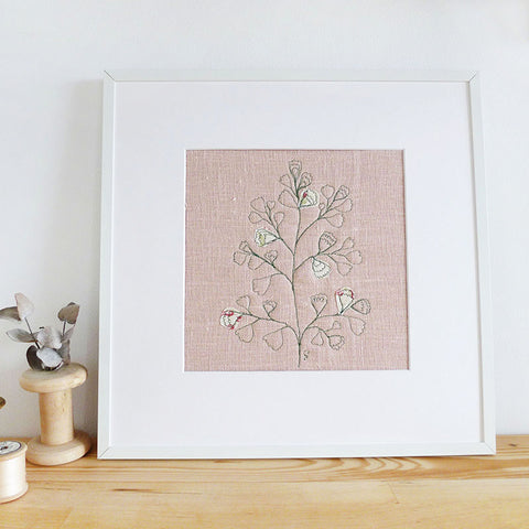 'Maidenhair Fern' Embroidered Linen Picture