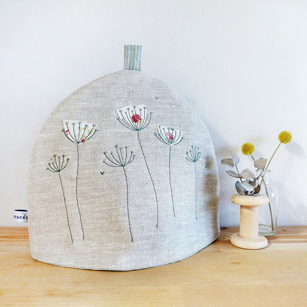 Embroidered Cow Parsley Linen Tea Cosy