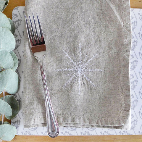 EMBROIDERED LINEN NAPKINS - snowflake