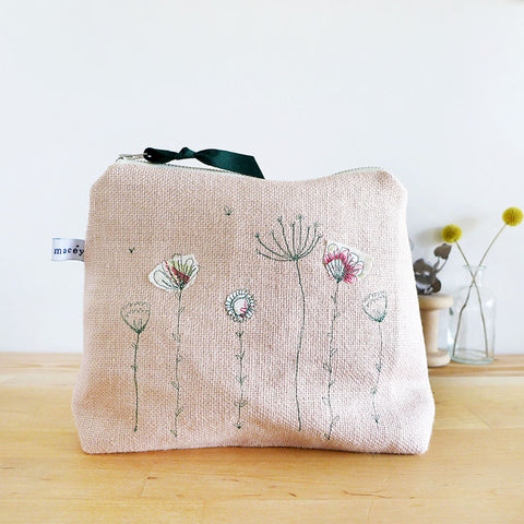 EMBROIDERED LINEN TALL POUCH - blush pink Wildflowers