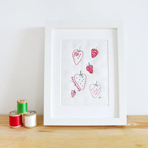 Strawberries Embroidered Linen Picture