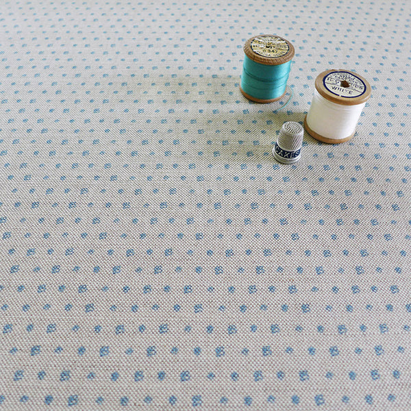 FABRIC - floral dots, cornish blue