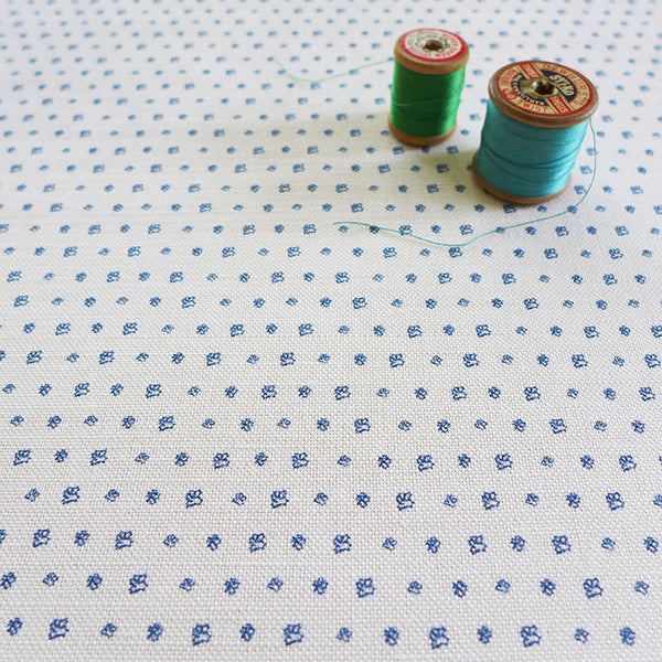 FABRIC - floral dots, french blue