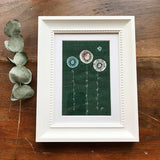 Forest Green Daisies Embroidered Picture