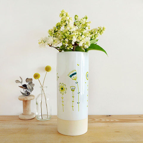 FLOWER VASE - green Wildflowers