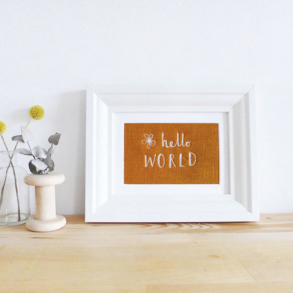 'Hello World' Embroidered Linen Picture