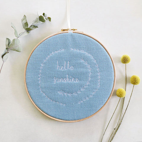 'Hello Sunshine' Embroidered Hoop Picture