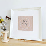 'Hello Lovely' Embroidered Linen Picture