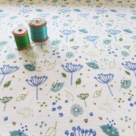 FABRIC - blue parsley, ivory
