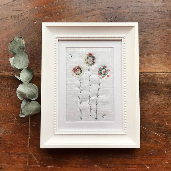 Ivory Daisies Embroidered Picture