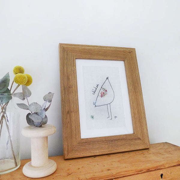Ivory Chicken Embroidered Picture