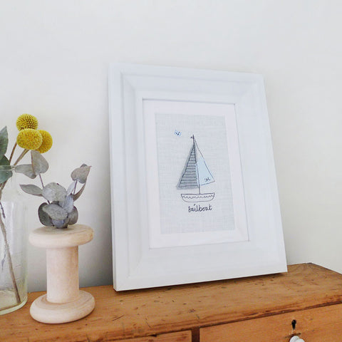 Ivory Sailboat Embroidered Picture