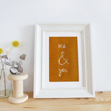 'Me & You' Embroidered Linen Picture
