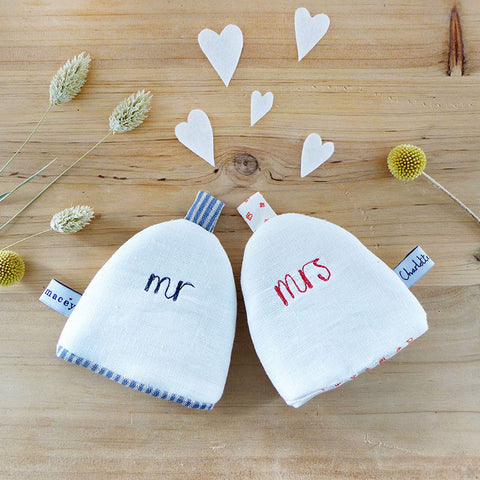 Mr and Mrs Linen Egg Cosies