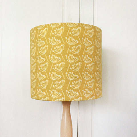 Mustard Yellow Cow Parsley Linen Lampshade