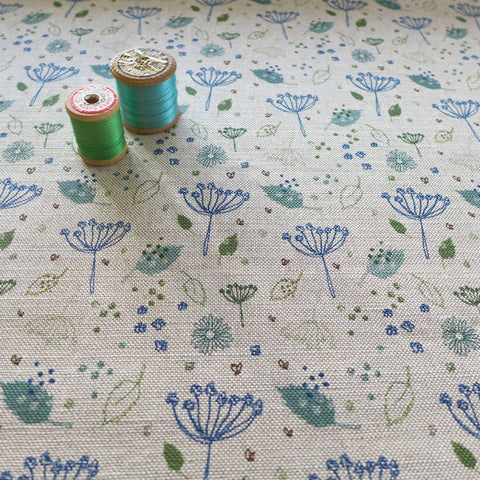 FABRIC - blue parsley, natural