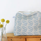 TALL POUCH - cow parsley, natural cornish blue