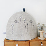 Embroidered Wildflowers Tea Cosy, Natural Linen