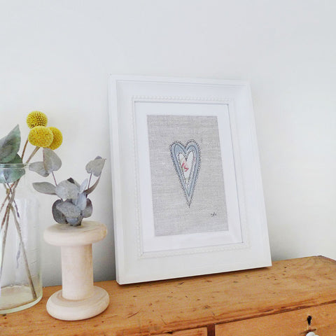 Natural Scandi Heart Embroidered Picture