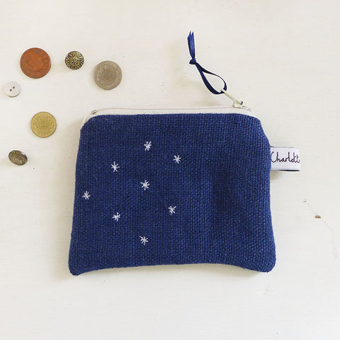 EMBROIDERED COIN PURSE - stars, navy