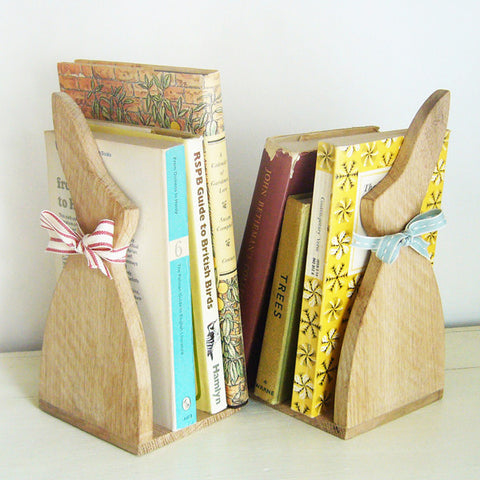 Oak Bunny Bookends