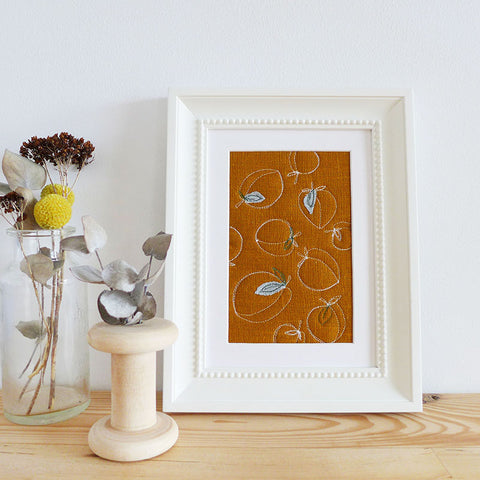 Peaches Embroidered Linen Picture
