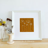 Rust Embroidered Wildflowers Linen Picture