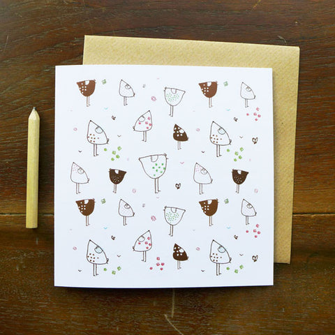 NOTECARD - scattered hens