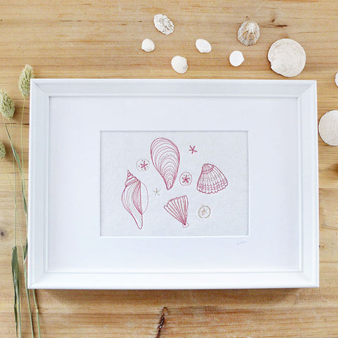Seashells Embroidered Picture