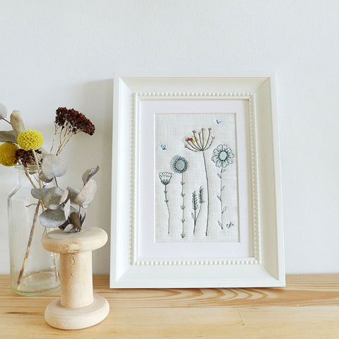 Wildflower and Daisy Embroidered Linen Picture