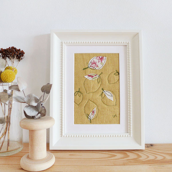 Lemons Embroidered Linen Picture