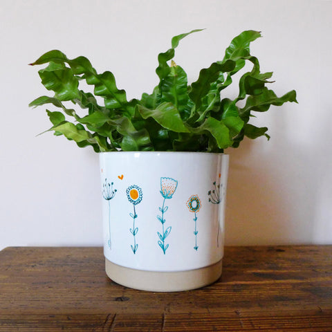 PLANT POT - green wildflowers