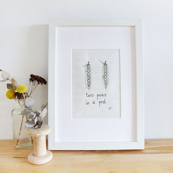'Two Peas in a Pod' Embroidered Linen Picture