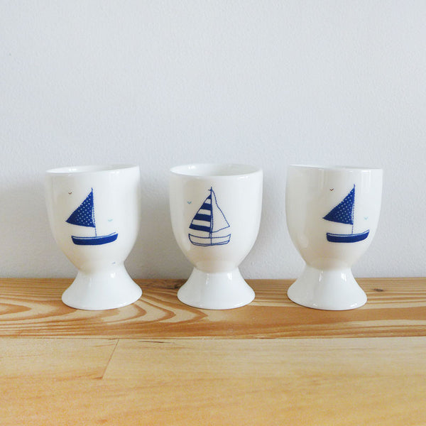 SECONDS - wonky Yachts egg cup trio