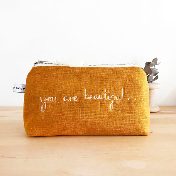 EMBROIDERED LINEN MID POUCH - you are beautiful...