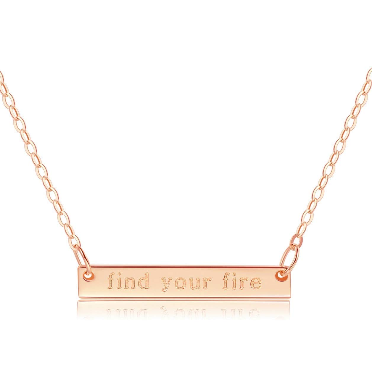 "Bar Necklace [ENGRAVED w/ ""Find Your Fire""] - 18k Rose Gold"