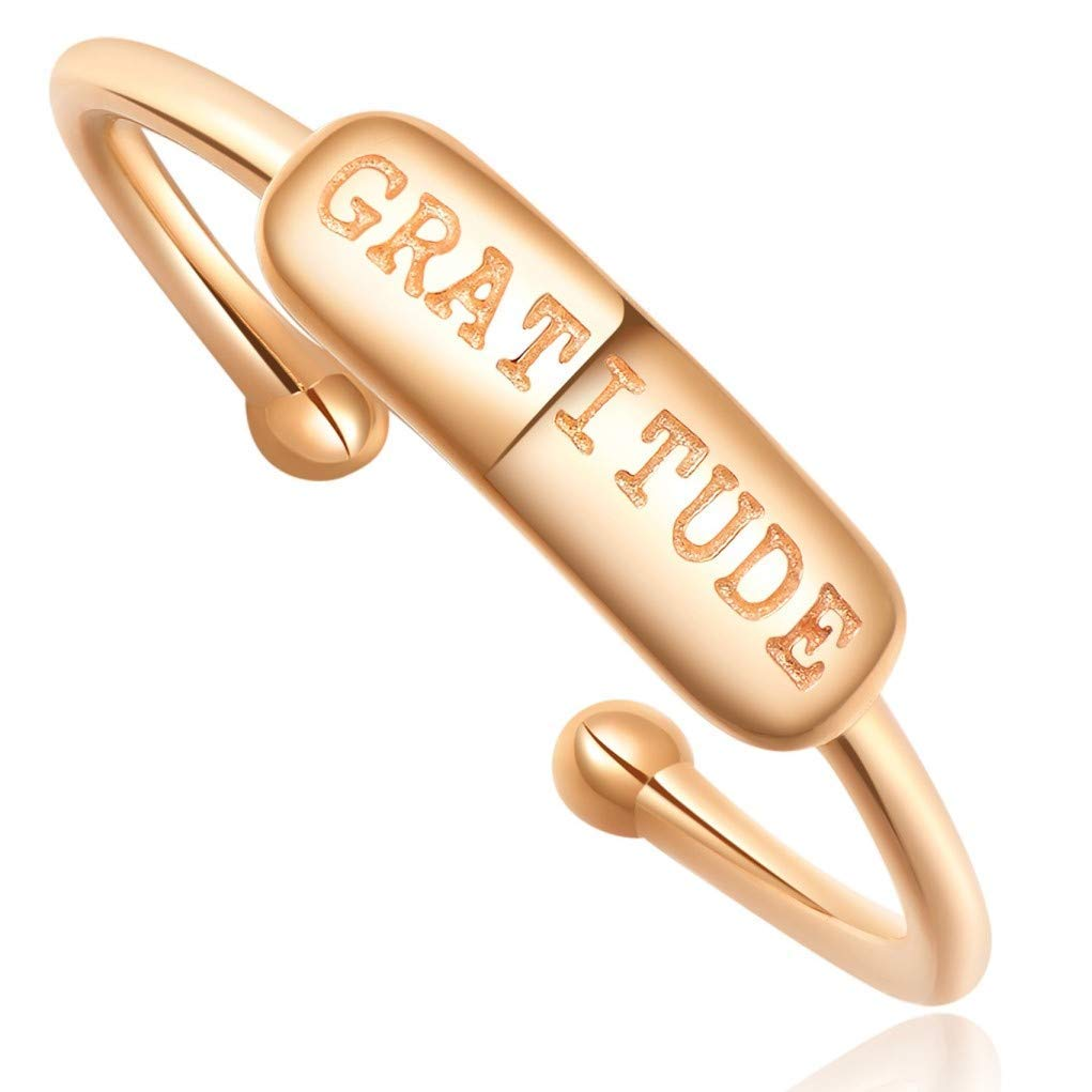 "Stacking Ring [ENGRAVED w/ ""Gratitude""] - 18k Rose Gold Plating - ADJUSTABLE"