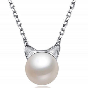 Cat Necklace w/ Freshwater Cultured Pearl - .925 Sterling Silver