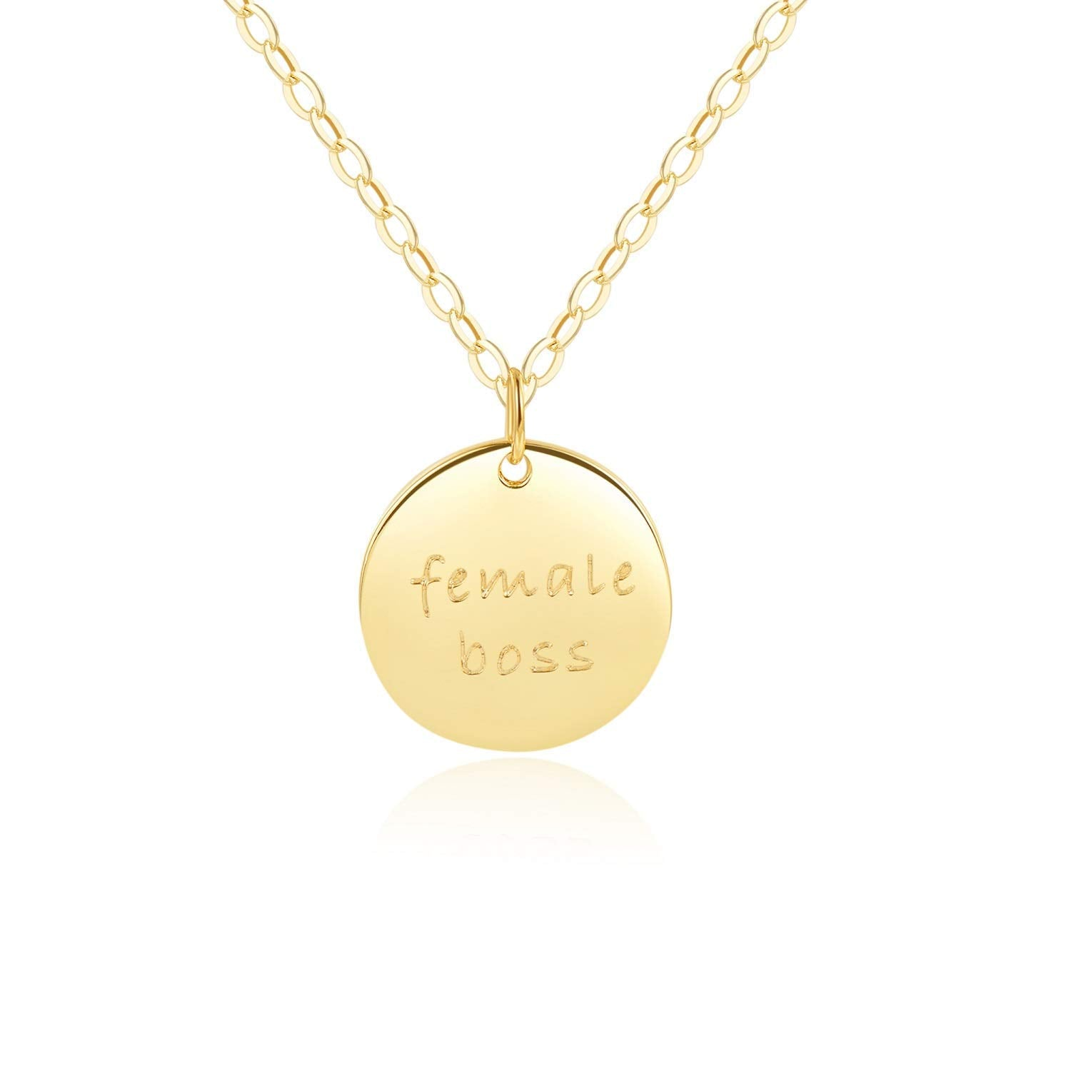 "Disc Necklace - [ENGRAVED w/ ""Female Boss""] 18k Gold - 18"" Chain"