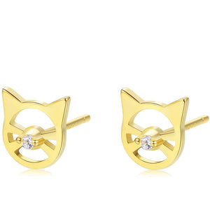 Dainty Cat Stud Earrings [. 925 Sterling Silver] - 18k Gold Plated