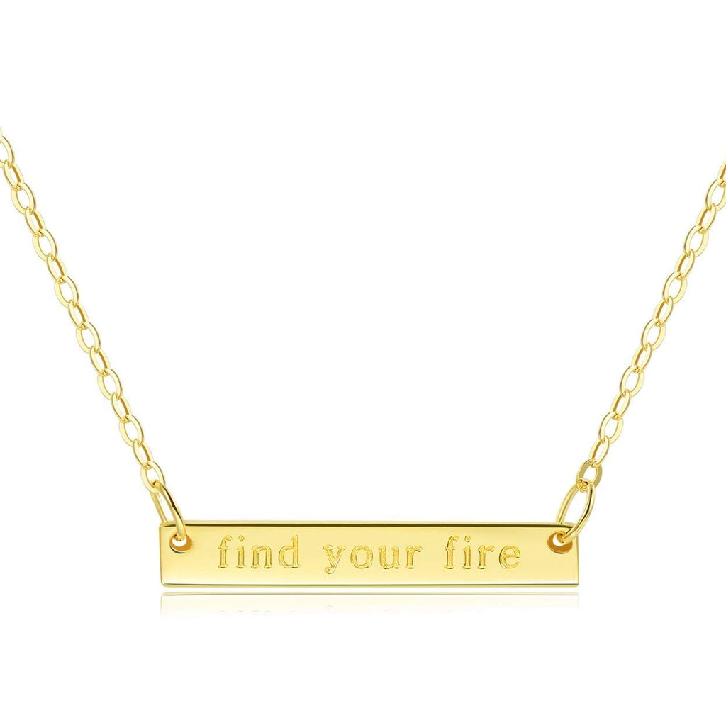 "Bar Necklace [ENGRAVED ""Find Your Fire""] - 18k Gold Plated"