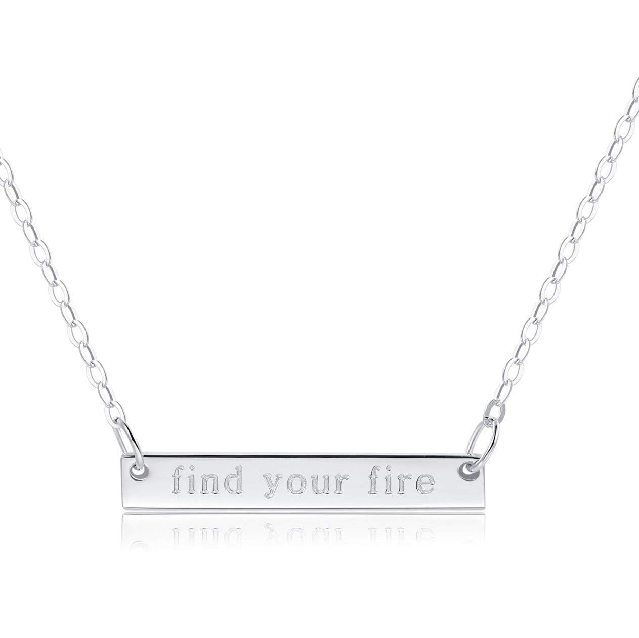 "Bar Necklace [""Find Your Fire"" ENGRAVED] - .925 Sterling Silver"