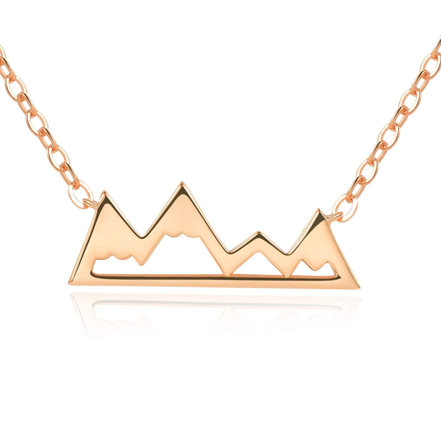 "Snowy Mountain Necklace - [Gift Ready] - 18k Rose Gold - 18"" Chain"
