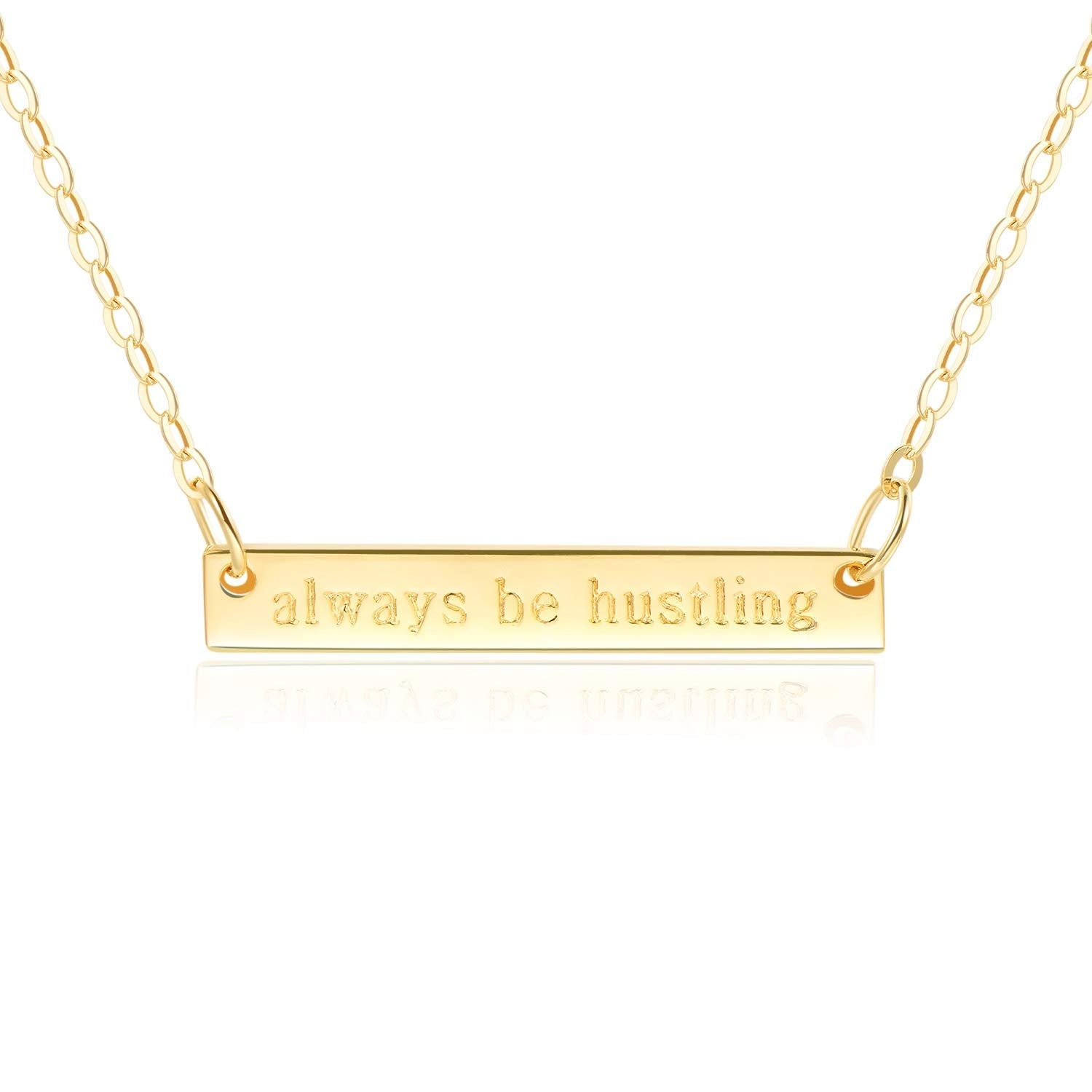 "Bar Necklace [ENGRAVED w/ ""Always be Hustling""] - 18k Gold Plated"