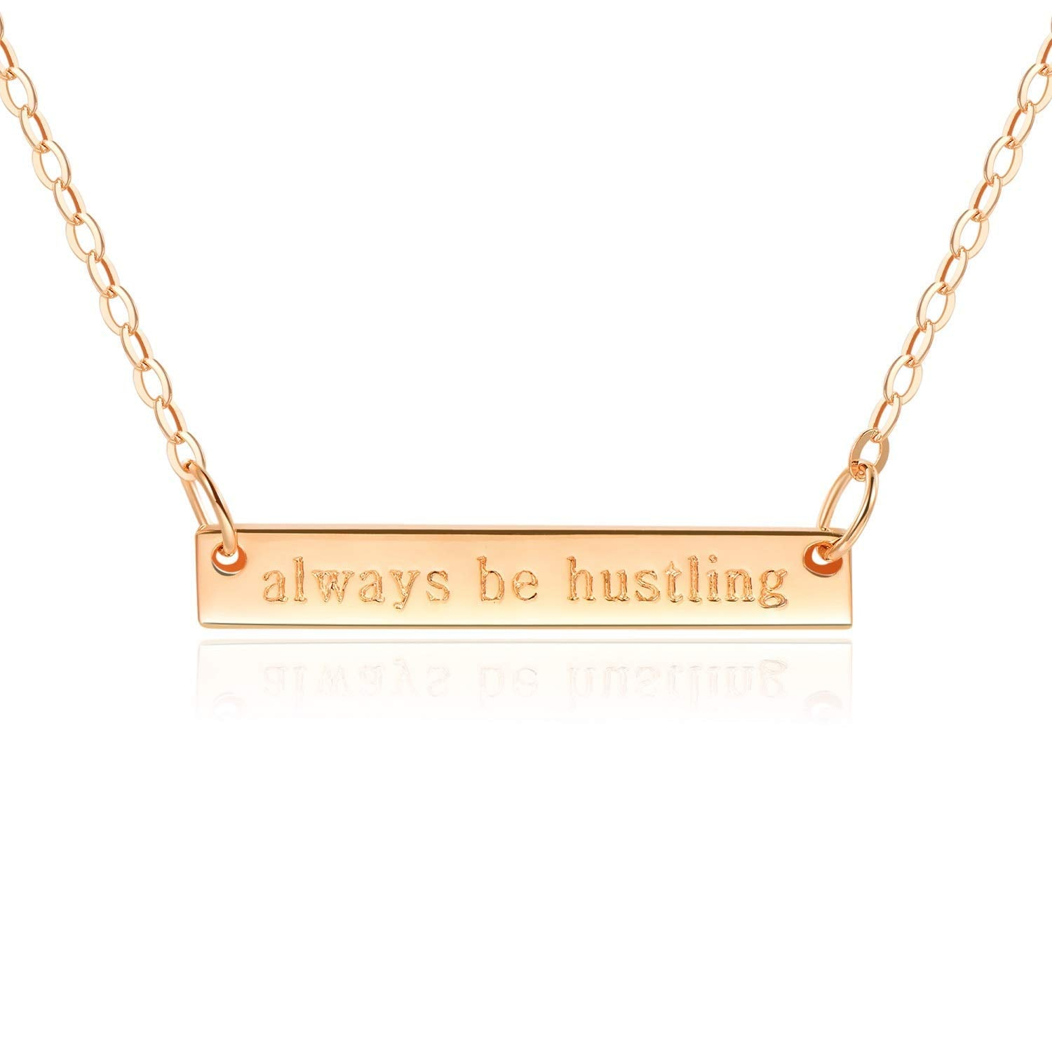 "Bar Necklace [ENGRAVED w/ ""Always be Hustling""] - 18k Rose Gold"