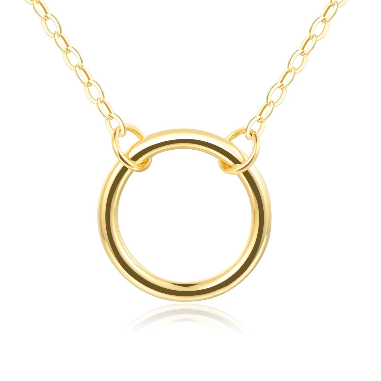 Open Circle Necklace (BFF, Friendship, Bridesmaid) - Gold Plating Over Brass 18""