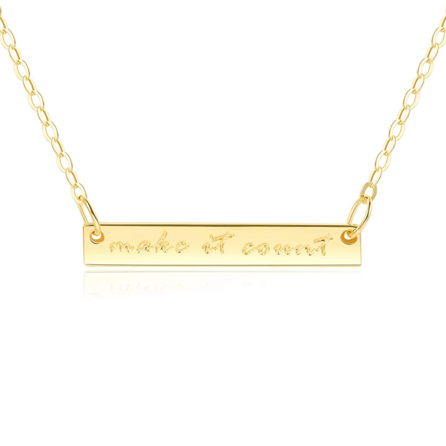 "Bar Necklace [ENGRAVED w/ ""Make it Count""] - 18k Gold"