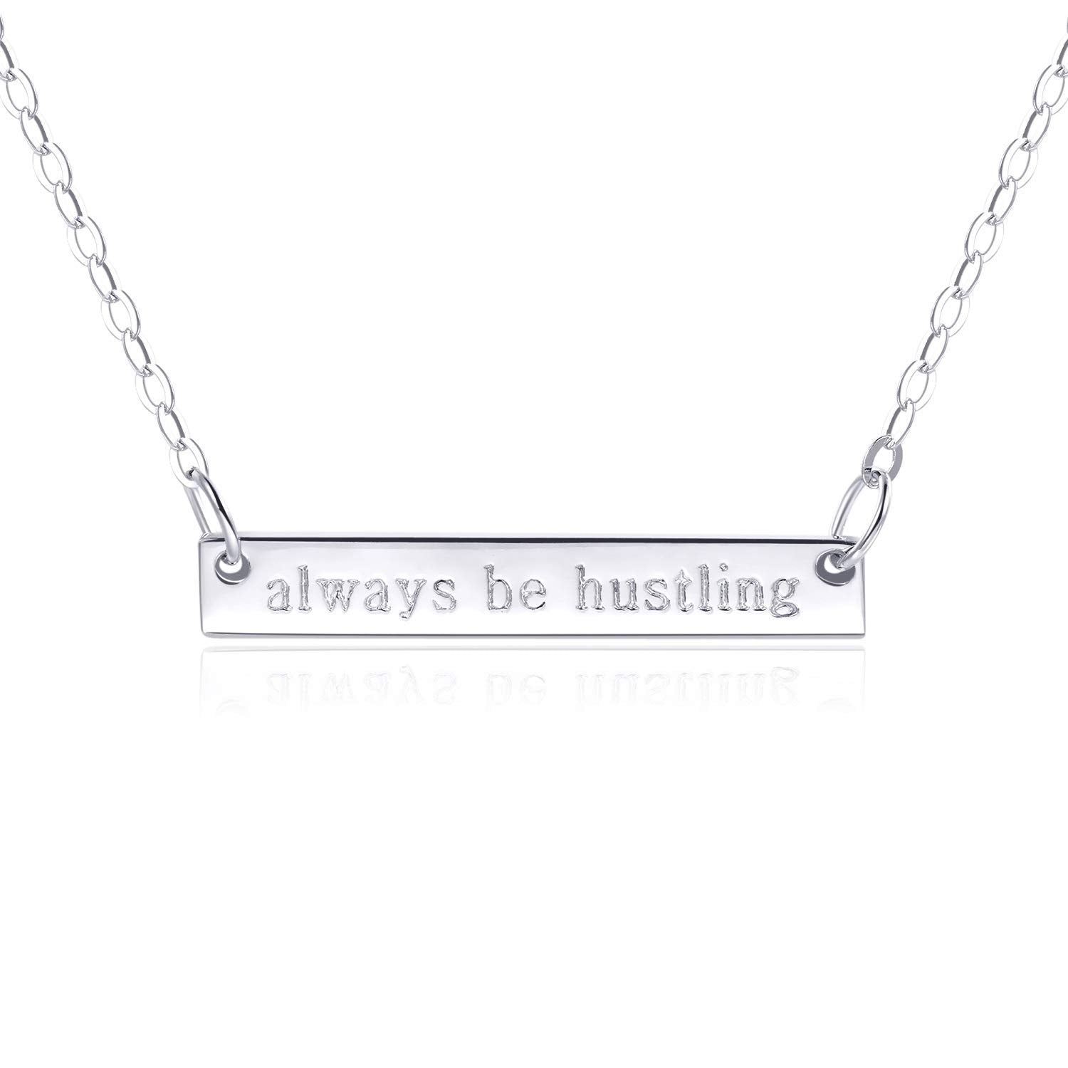 "Bar Necklace [Sterling Silver .925] - [""Always Be Hustling"" - ENGRAVED]"